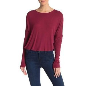 Abound 00 Long Sleeve Ribbed Top XXS Burgundy